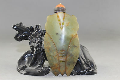 Chinese exquisite hand-carved old jade snuff bottle AS022