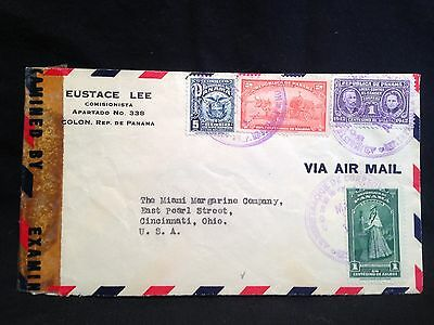 Panama Air Mail 1943 WWII Censored Cover Colon Pan to USA American Bank Note Co.