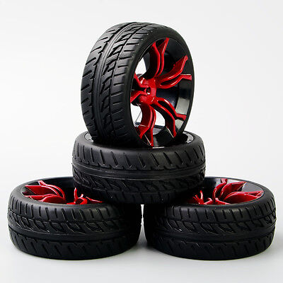 MPNKR 1/10 Scale RC On Road Speed Racing Car Rubber Tyre Red Spoke Wheel  4PCS
