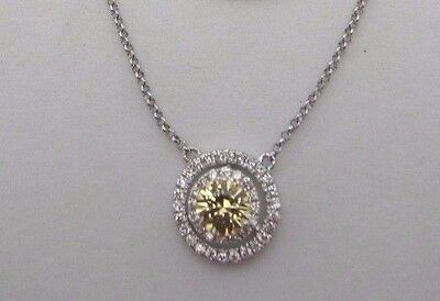 14K White Gold Yellow Sapphire And Diamond Pendant Necklace