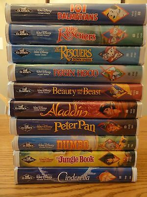RARE 11 Disney BLACK DIAMOND Classics VHS Movies Lot Jungle Book Dumbo Rescuers