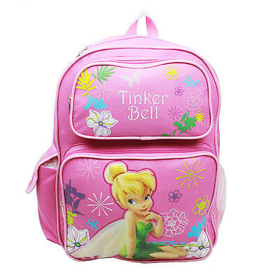 "Disney Tinkerbell Girls 16"" Canvas Pink School Backpack"