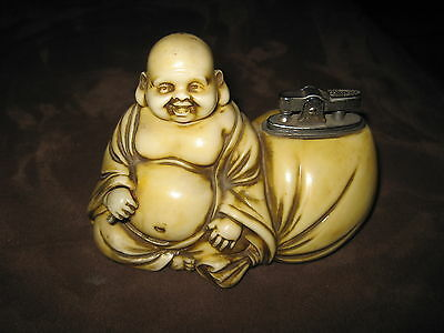 VINTAGE:1940s~Smiling Buddha LIGHTER*Hotel Gold*Dated~Sangley Point Phillipines