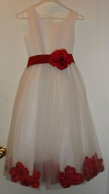 Christmas Holiday Flower Girl Wedding Birthday Pageant Rose Petal Dress sz 8