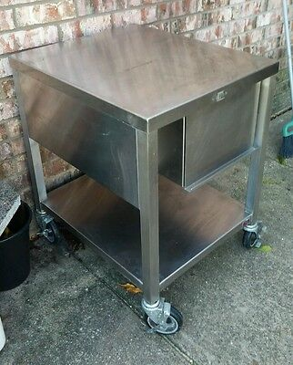 stainless steel rolling prep table kitchen or garage work bench with drawer