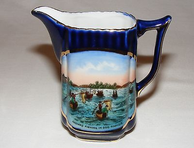 Antique Victorian American Native Indian Fishing @ Soo Rapids Cream Jug Pitcher