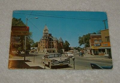 c1960 Merrill Wisconsin Postcard WI Business District Rexall Drug Store