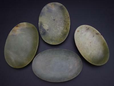 Four Chinese Jade Snuff Tray/Dishes