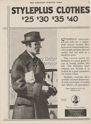 1921 Henry Sonneborn Co Baltimore MD Styleplus-Men's Clothes Fashion Ad