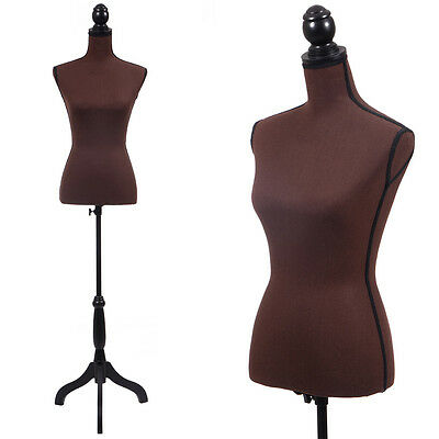 Coffee Female Mannequin Torso Clothing Display W/ Black Tripod Stand