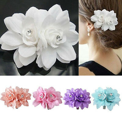 2Flowers on 1 Clip Pin Hair Pin Hairband for Women Bridal Wedding Party Show CA