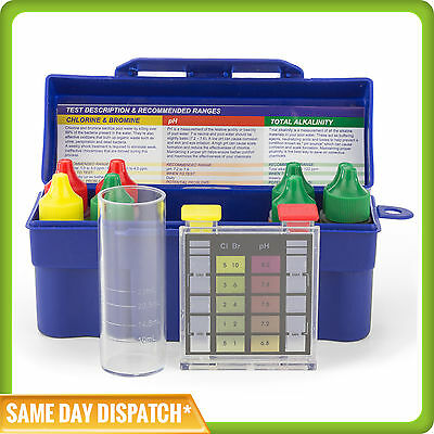 POOL & SPA WATER 6in1 TEST KIT - CHLORINE/BROMINE-PH-ALKALINITY-HARDNESS-ACID