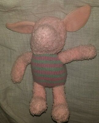 "Walt Disney World Shaggy  Piglet Winnie The Pooh  8"" Gray Pink Stuffed Plush"