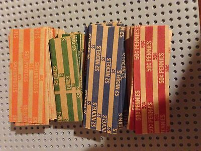400 New Quarters-Dimes-Nickels & Pennys Pop-Open Flat Paper Coin Wrappers Tubes