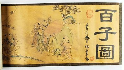 Chinese Ancient picture silk paper 100 Children Figure Scroll painting mk