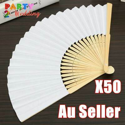 50x White Paper Hand Fan Wedding Party Gift Signature Bulk Lot
