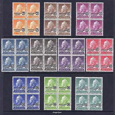 1958 - Australia - Christmas Island - Queen Elizabeth 2 -set of 10 x blocks of 4