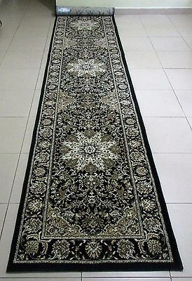 New Extra Long Black Persian Design High Quality Floor Hallway Runner 80X400Cm