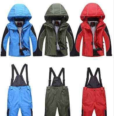 Kids Snow Suits Set 5-11jacket and pants ski snowboard 110-140cm blue red green