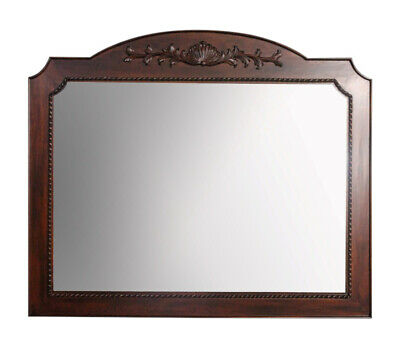 Solid Mahogany Wood Large Beveled Wall Mirror Hand Carved Antique Style