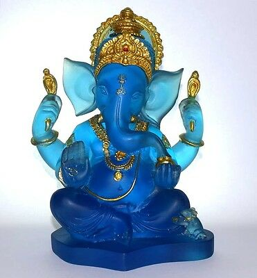 Ganesh - Hindu Lord of Prosperity & Fortune Sapphire Blue Color Statue Figurine