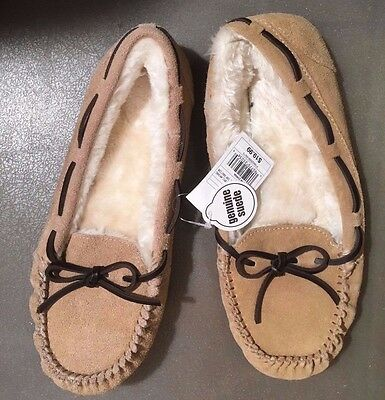 Genuine Suede Tan/Chaia Moccasin Slippers Women's Size 9 Faux Fur