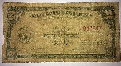 Philippines 20 Centavos 1949 Foreign Paper Money Banknote 047247