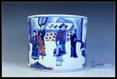 Orient Chinese Blue & White Underglaze Red Porcelain Character Story Brush Pot