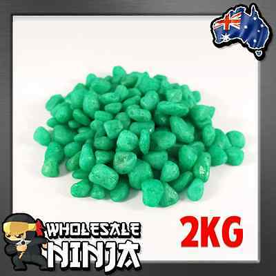 GREEN FISH TANK GRAVEL 2KG Pebbles for Fish Tanks, Bowls, Aquariums & Terrarium