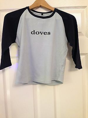 Doves band 3/4 sleeve blue navy t-shirt ladies womens size S