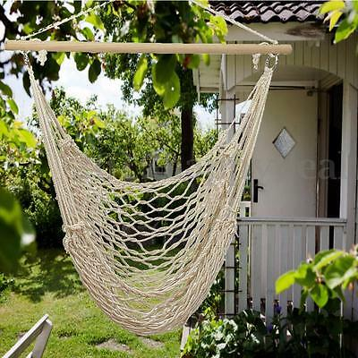 Hanging Hammock Cotton Woven Rope Wooden Bar Swing Garden Patio Chair Seat