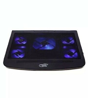 """Laptop Cooling Pad 5 Fan Adjustable Stand Blue LED USB Port For Up to 15.4"""" (T5)"""