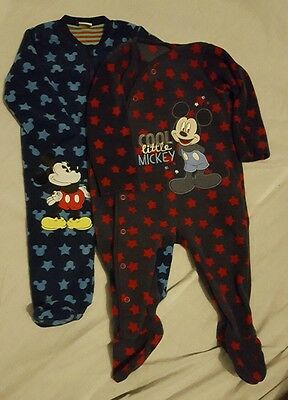 set of 2 fleece mickey mouse baby grows/ sleep suits 3-6 months
