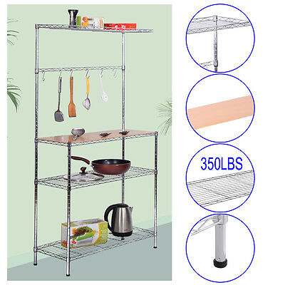 3-Tier Chrome Bakers Rack with Cutting Board and Storage Kitchen Work Station