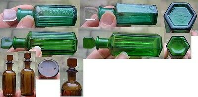 3 Vintage Glass Chemist Poison Bottles With Glass Stoppers