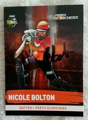 """NICOLE BOLTON CRICKET SIGNED IN PERSON Tap n play BBL CARD """"BUY GENUINE"""""""