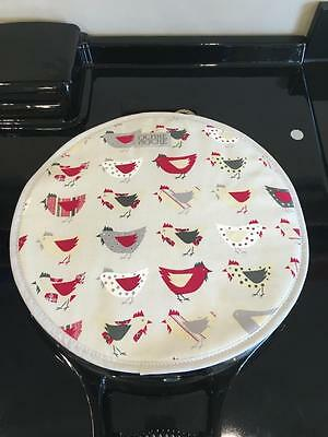 Organic Cotton Rooster Chicken Red Hob Lid Covers Chef Chefs Pads for Aga PAIR