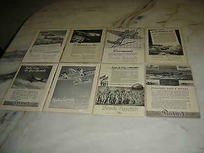 40'S Vintage Portuguese Advertising WWII Second War Lot  BEECH AIRCRAFT CORP.