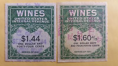 USA Great Used Wine Tax Stamps as Per Photo Great Value