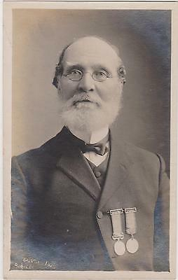 Rp Old Soldier With Medals  , Real Photo By Burnton Of Burnley 1910