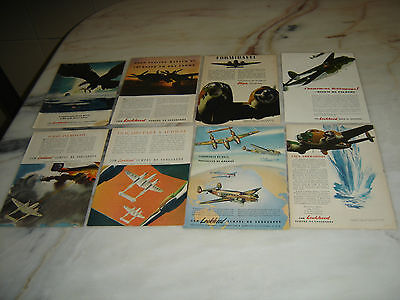 40'S Old Portuguese Advertising WWII Second War Lot LOKHEED Aircraft Corporation
