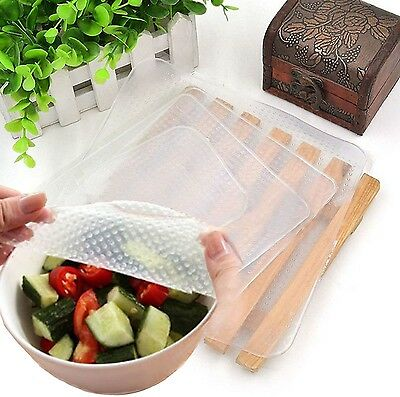 4pcs Reusable Silicone Storage Food Wrapper Containers Seal Cover Stretch Cli...
