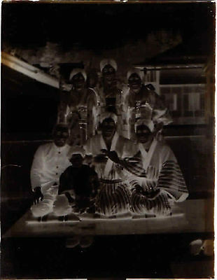 Antique Japan Japanese Glass Negative Group in Kimono Photo C.1917 #3