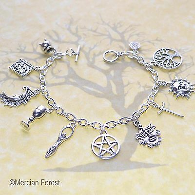 Wiccan Charm Bracelet - Pagan Jewellery, Wicca, Witch, Pentacle, Goddess