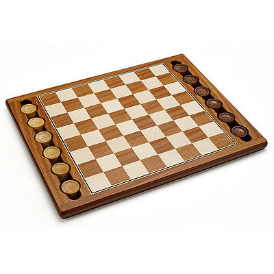 Kids Child Italy Hand Crafted Wooden 2 Player Checkers Game Set Board & Pieces