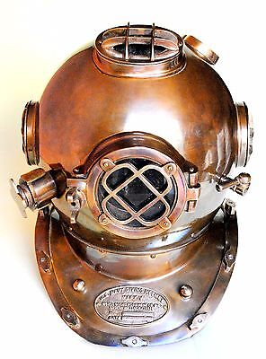 Vintage Antique Brass Diver Helmet US Navy Scuba Diving Helmet Brass Finish Item