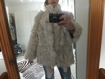 Stunning Vintage  100% Real White Silver Grey  Artic Fox Fur Coat Jacket Gilet