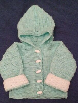 Hand Knitted Baby's Duffle Jacket 3-6 Months