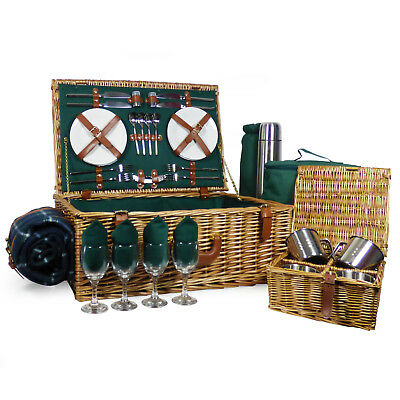 4 Person Regal Deluxe Wicker Picnic Hamper with Green Blanket