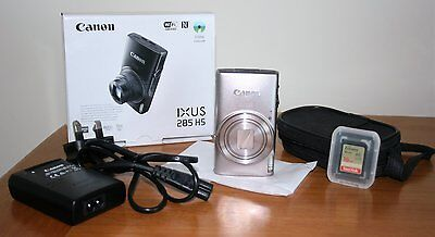Canon Ixus 285 Hs Silver Camera / Includes Sandisk Sdhc 16Gb Memory Card + Case
